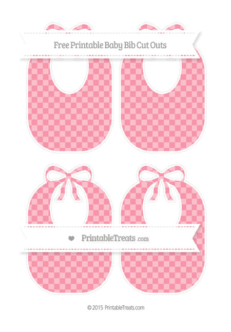 Free Pastel Pink Checker Pattern Medium Baby Bib Cut Outs