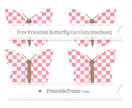 Free Pastel Pink Checker Pattern Medium Butterfly Cut Outs