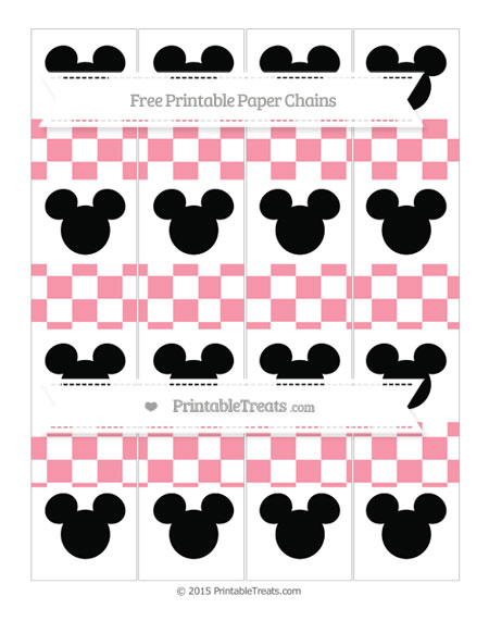 Free Pastel Pink Checker Pattern Mickey Mouse Paper Chains