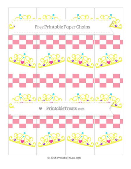 Free Pastel Pink Checker Pattern Princess Tiara Paper Chains