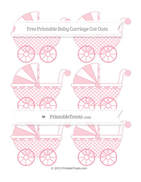 Free Pastel Pink Checker Pattern Small Baby Carriage Cut Outs