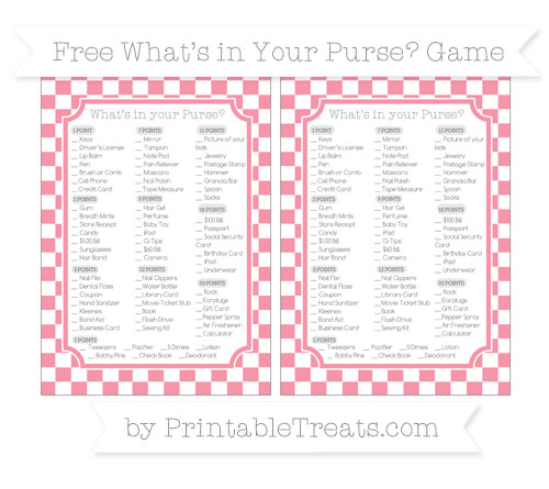Free Pastel Pink Checker Pattern What's in Your Purse Baby Shower Game