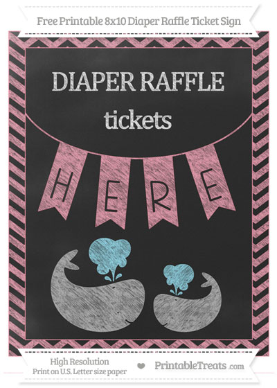 Free Pastel Pink Chevron Chalk Style Baby Whale 8x10 Diaper Raffle Ticket Sign