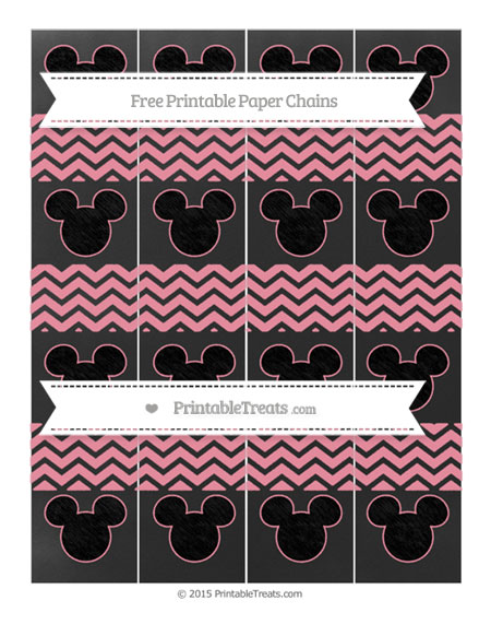 Free Pastel Pink Chevron Chalk Style Mickey Mouse Paper Chains