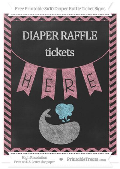 Free Pastel Pink Chevron Chalk Style Whale 8x10 Diaper Raffle Ticket Sign