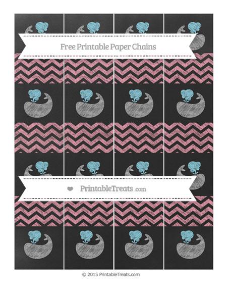 Free Pastel Pink Chevron Chalk Style Whale Paper Chains