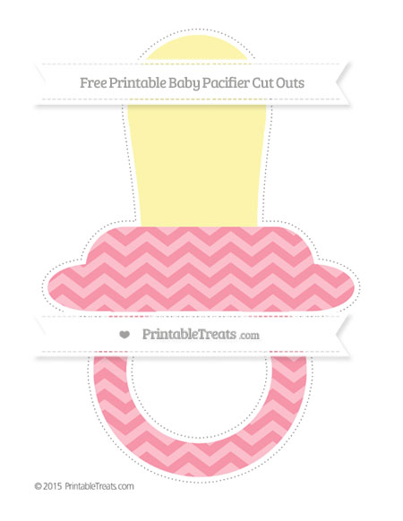 Free Pastel Pink Chevron Extra Large Baby Pacifier Cut Outs