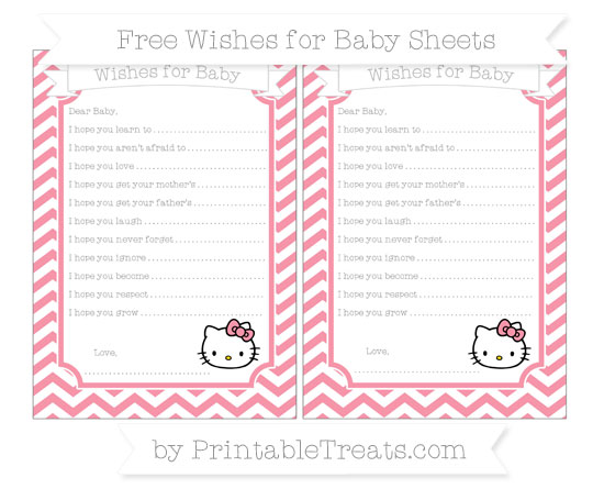 Free Pastel Pink Chevron Hello Kitty Wishes for Baby Sheets