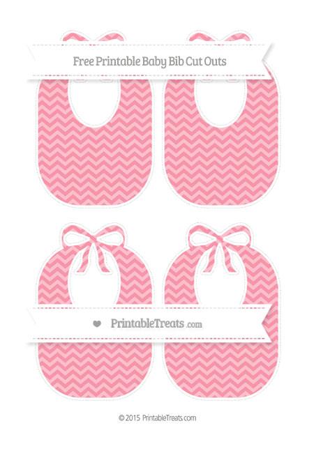 Free Pastel Pink Chevron Medium Baby Bib Cut Outs