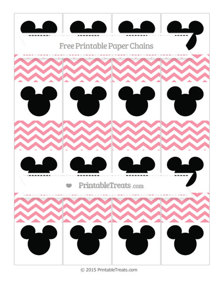 Free Pastel Pink Chevron Mickey Mouse Paper Chains