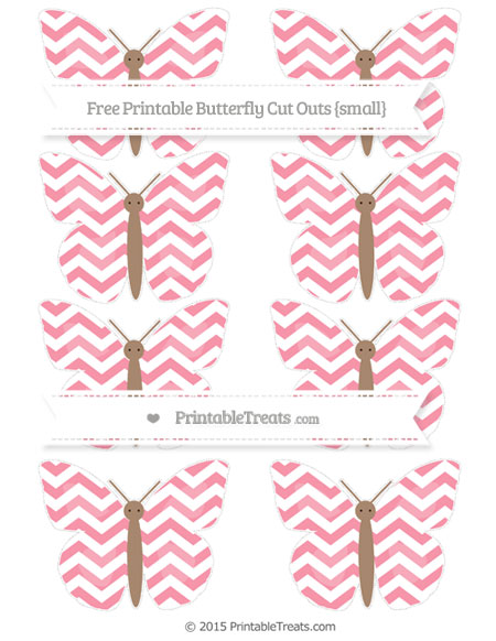 Free Pastel Pink Chevron Small Butterfly Cut Outs