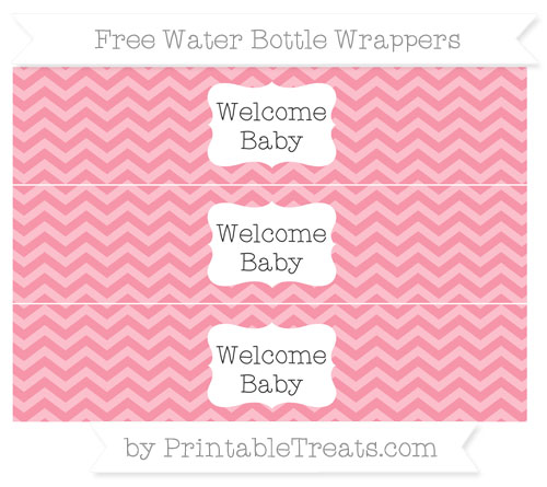 Free Pastel Pink Chevron Welcome Baby Water Bottle Wrappers