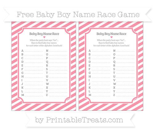 Free Pastel Pink Diagonal Striped Baby Boy Name Race Game