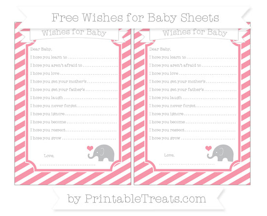 Free Pastel Pink Diagonal Striped Baby Elephant Wishes for Baby Sheets
