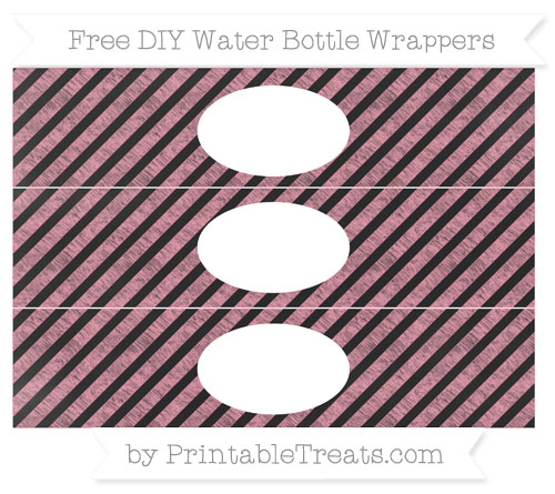 Free Pastel Pink Diagonal Striped Chalk Style DIY Water Bottle Wrappers
