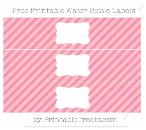 Free Pastel Pink Diagonal Striped Water Bottle Labels