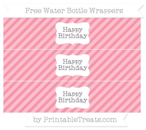 Free Pastel Pink Diagonal Striped Happy Birhtday Water Bottle Wrappers
