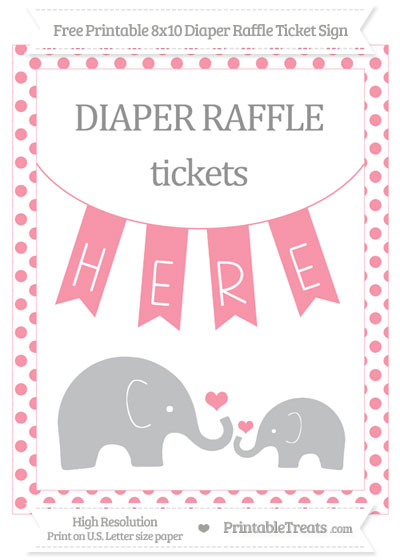 Free Pastel Pink Dotted Elephant 8x10 Diaper Raffle Ticket Sign