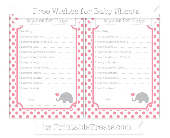 Free Pastel Pink Dotted Pattern Baby Elephant Wishes for Baby Sheets