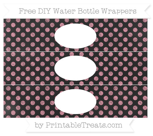 Free Pastel Pink Dotted Pattern Chalk Style DIY Water Bottle Wrappers