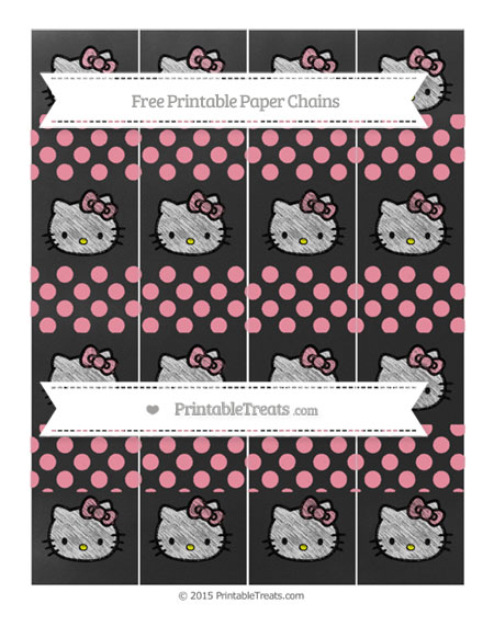 Free Pastel Pink Dotted Pattern Chalk Style Hello Kitty Paper Chains