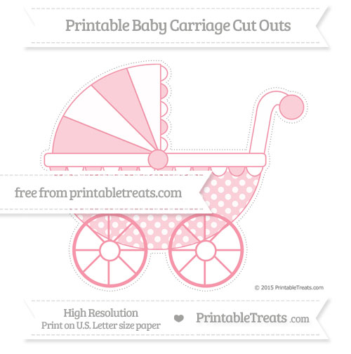 Free Pastel Pink Dotted Pattern Extra Large Baby Carriage Cut Outs