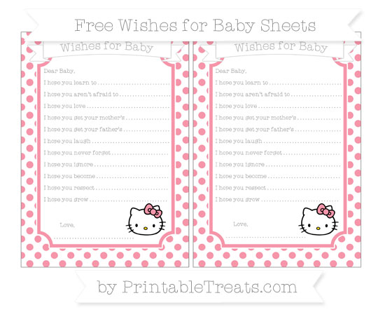 Free Pastel Pink Dotted Pattern Hello Kitty Wishes for Baby Sheets