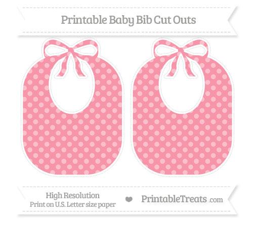 Free Pastel Pink Dotted Pattern Large Baby Bib Cut Outs