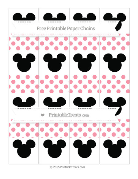 Free Pastel Pink Dotted Pattern Mickey Mouse Paper Chains