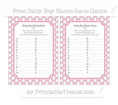 Free Pastel Pink Fish Scale Pattern Baby Boy Name Race Game