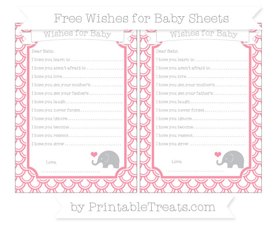 Free Pastel Pink Fish Scale Pattern Baby Elephant Wishes for Baby Sheets