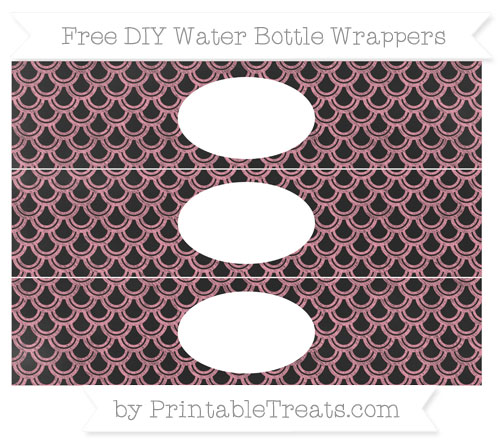 Free Pastel Pink Fish Scale Pattern Chalk Style DIY Water Bottle Wrappers