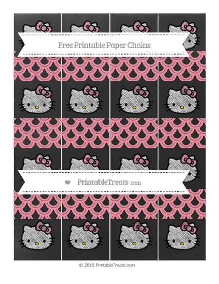 Free Pastel Pink Fish Scale Pattern Chalk Style Hello Kitty Paper Chains