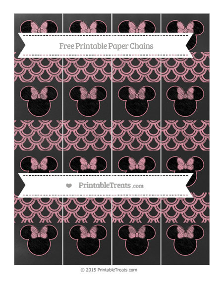 Free Pastel Pink Fish Scale Pattern Chalk Style Minnie Mouse Paper Chains