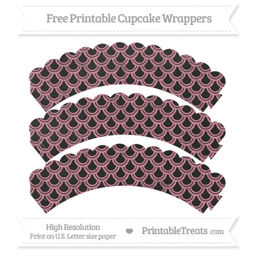 Free Pastel Pink Fish Scale Pattern Chalk Style Scalloped Cupcake Wrappers