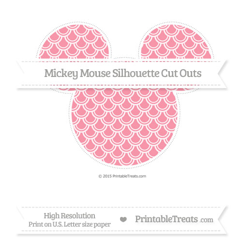 Free Pastel Pink Fish Scale Pattern Extra Large Mickey Mouse Silhouette Cut Outs