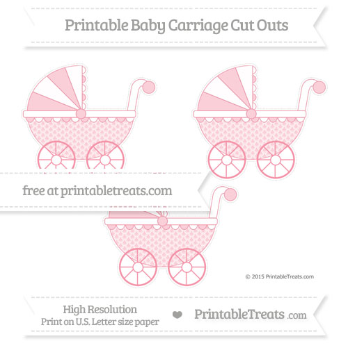 Free Pastel Pink Fish Scale Pattern Medium Baby Carriage Cut Outs