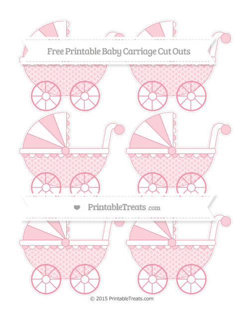 Free Pastel Pink Fish Scale Pattern Small Baby Carriage Cut Outs
