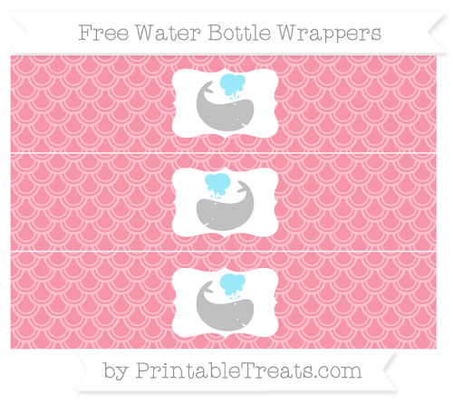 Free Pastel Pink Fish Scale Pattern Whale Water Bottle Wrappers
