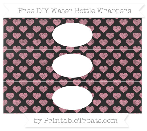 Free Pastel Pink Heart Pattern Chalk Style DIY Water Bottle Wrappers