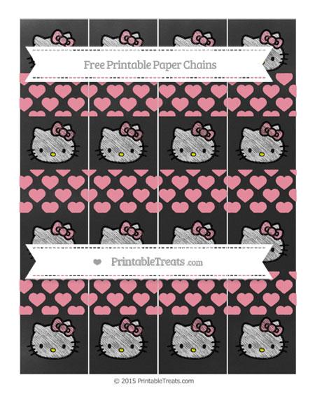 Free Pastel Pink Heart Pattern Chalk Style Hello Kitty Paper Chains