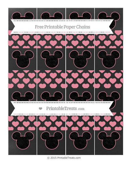 Free Pastel Pink Heart Pattern Chalk Style Mickey Mouse Paper Chains