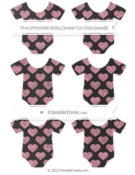 Free Pastel Pink Heart Pattern Chalk Style Small Baby Onesie Cut Outs