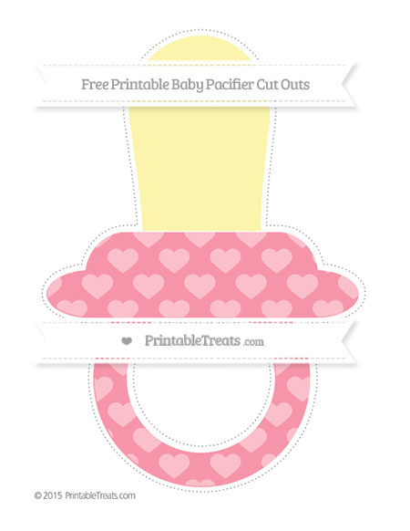 Free Pastel Pink Heart Pattern Extra Large Baby Pacifier Cut Outs