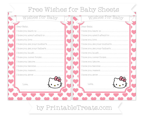 Free Pastel Pink Heart Pattern Hello Kitty Wishes for Baby Sheets