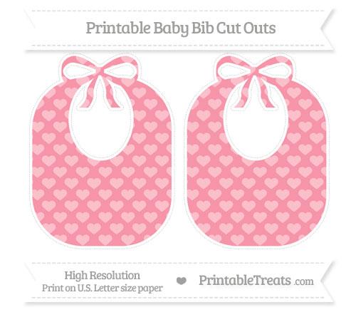 Free Pastel Pink Heart Pattern Large Baby Bib Cut Outs