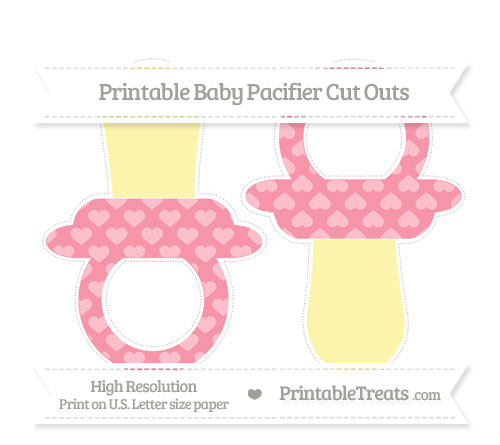 Free Pastel Pink Heart Pattern Large Baby Pacifier Cut Outs