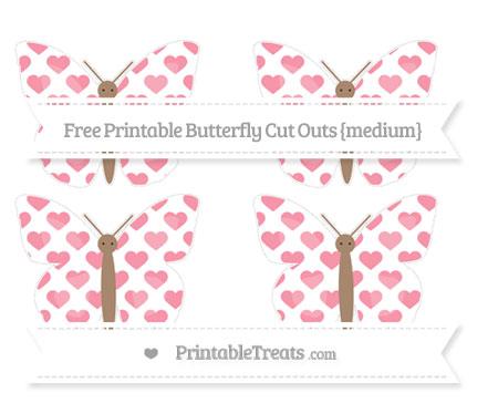 Free Pastel Pink Heart Pattern Medium Butterfly Cut Outs