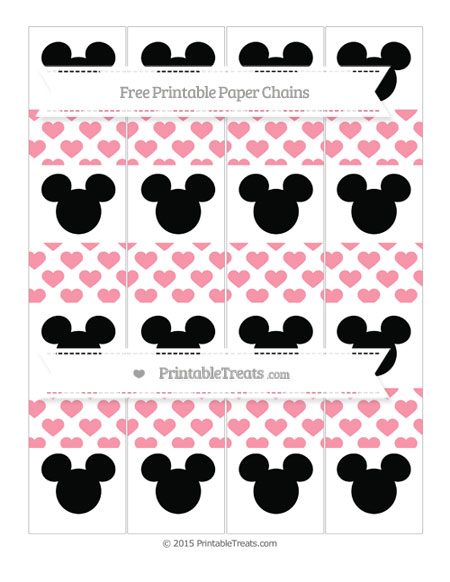 Free Pastel Pink Heart Pattern Mickey Mouse Paper Chains