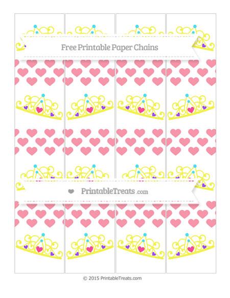 Free Pastel Pink Heart Pattern Princess Tiara Paper Chains